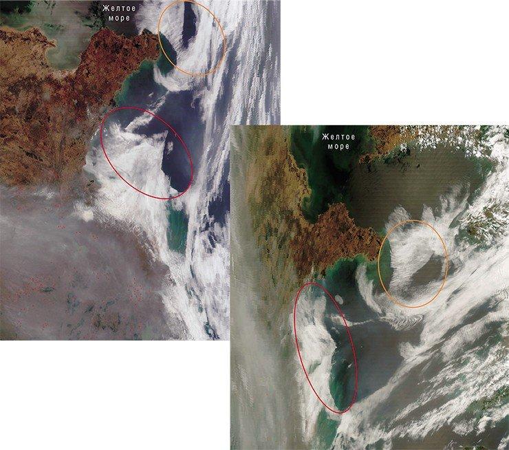 Запуск ядерных ракет ближнего радиуса действия с западного берега Корейского п-ва вызвал активизацию разломов морского дна, которые отобразились на облачных массивах в виде аномально линейных краев (слева). Справа – метеорологические облака сместились, но возникшие аномалии сохраняются. Фото сделаны с ИСЗ Terra и Aqua (NASA/GSFC, Rapid Response) 29 мая 2007 г.