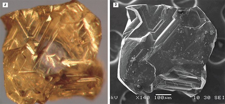 Electron-microscopic images of the bottom of the octahedral diamond crystal from the Manchary pipe: a – transmission microscopy; b – back-scattered microscopy