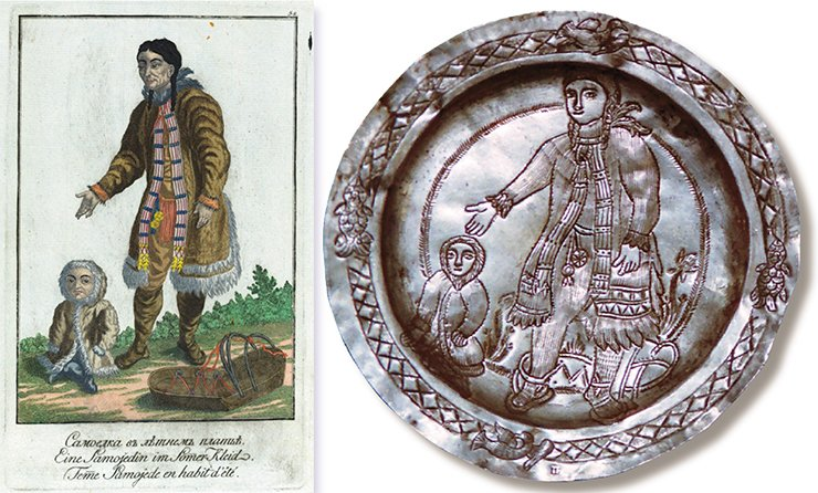 "A saucer depicting a woman and a child. Presumably: Tobolsk, first quarter of the 19th century. Silver, 916 silver mark; 41.8 g; 12.8 cm in diameter. Silversmith's hallmark: П•… (cyr.) (the remaining part removed). Peter the Great Museum of Anthropology and Ethnography (St. Petersburg). ""A Samoyed woman in a summer dress."" Illustration from J. G. Georgi's book A Description of All the Peoples inhabiting the Russian State, as Well as Their Daily Rituals, Beliefs, Customs, Clothing, Dwellings and Other Memorabilities, St. Petersburg: Imperial Academy of Sciences, 1799"