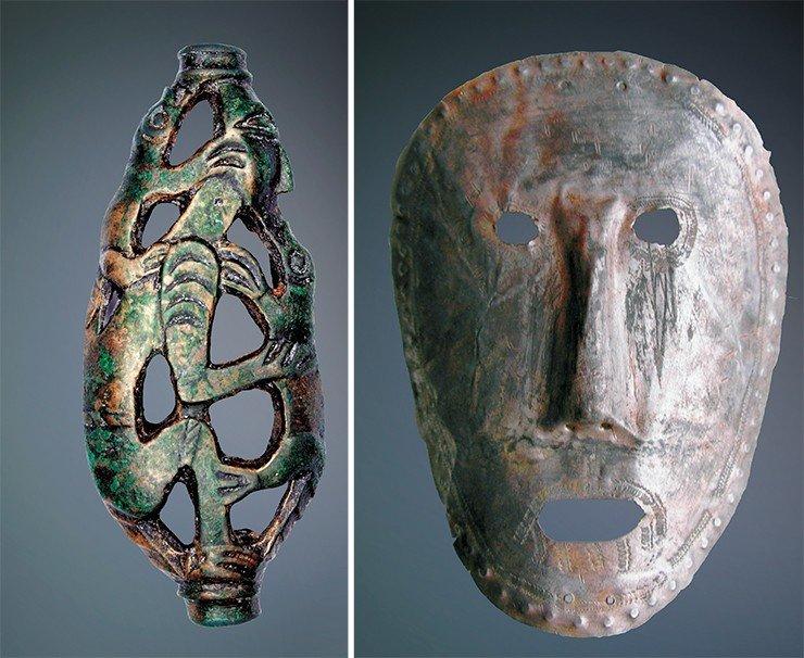 Пронизка в виде человекоподобного существа с двумя животными (слева). Бронза. Найдена на Южном Ямале. Погребальная маска (справа). Металл. Найдена в Прикамье