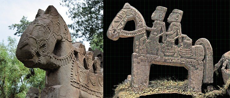 Almost all of the Gool horsemen had been headless for ages (left). Depictions of the riders obtained from the point cloud (right)