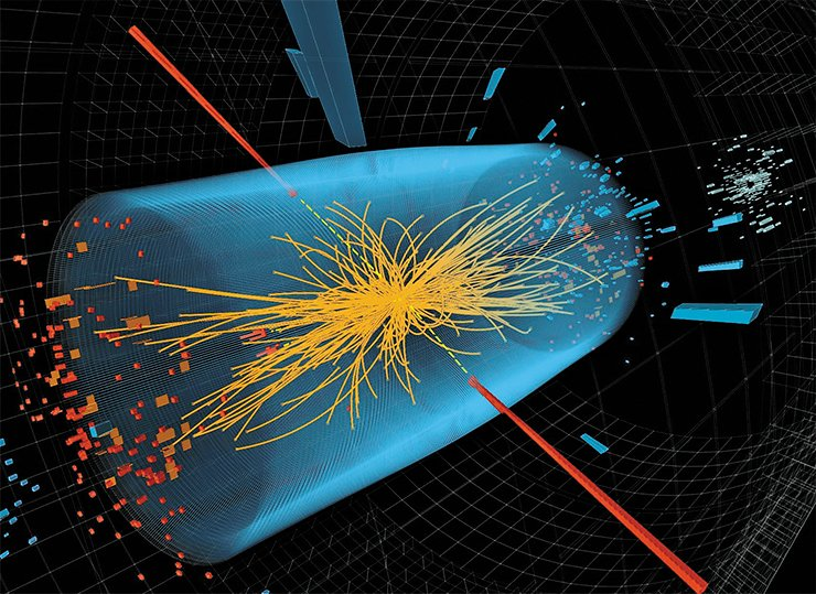 Decomposition of the Higgs boson into two photons with high energies (red lines) recorded by the CMS detector. The yellow lines show the tracks of other particles generated in this collision. The blue cylinder shows the crystal calorimeter of the CMS detector. © 2012 CERN
