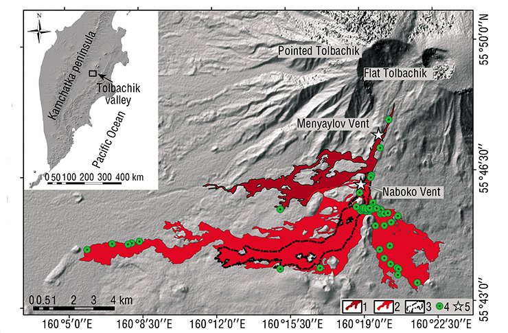 Schematic map of lava streams of the Tolbachik Fissure Eruption of 2012–2013.