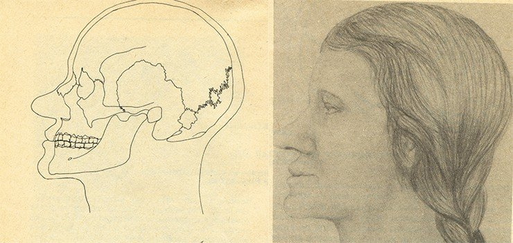 A contour reconstruction based on the female skull (left). A portrait of the woman (right). Reconstruction by Cand.Sci.(History) T.S. Balueva (Institute of Ethnology and Anthropology RAS, Moscow). Burial 2, Ak-Alakha 1 burial mound 1