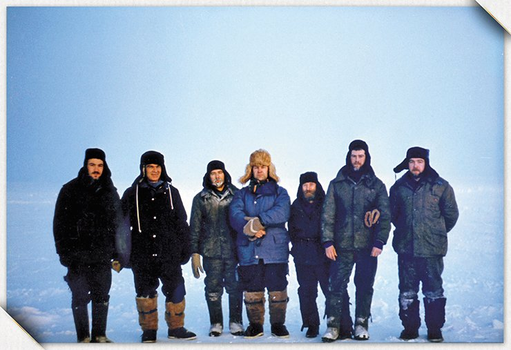 Many years later, another team of researchers from the Institute of Hydrodynamics went to a place near Severnaya Zemlya in the Arctic to solve another important problem associated with ice dynamics (left to right: A. R. Berngardt, V. M. Titov, V. T. Kuzavov, V. K. Kedrinsky, the rover driver Slava, V. Bondarenko, and N. N. Chernobaev). For these studies, A. R. Berngardt was awarded with one the first Lenin Komsomol Prizes for Young Scientists