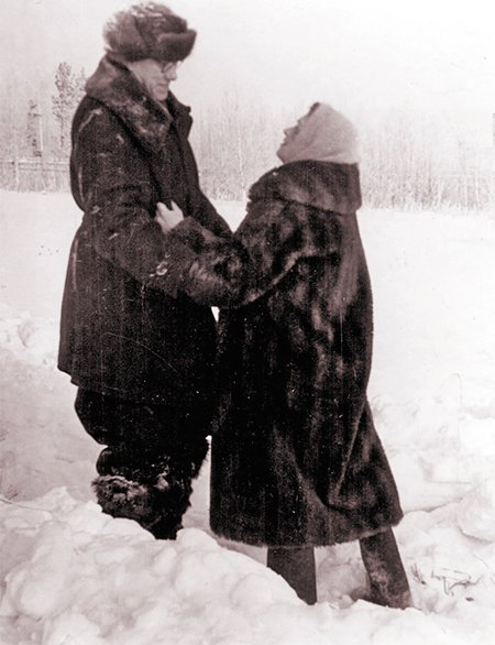 Mikhail Alekseevich with his wife Vera Evgenievna, winter 1958/1959
