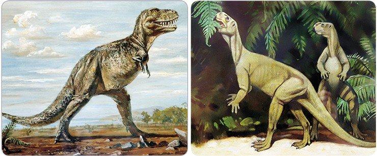 Слева: крупный хищный динозавр тарбозавр (Tarbosaurus bataar). Поздний мел, Монголия. Справа: Челюсти мелкого растительноядного динозавра пситтакозавра Psittacosaurus mongoliensis были похожи на клюв попугая. Ранний мел. Рис. из эспозиции ПИН РАН