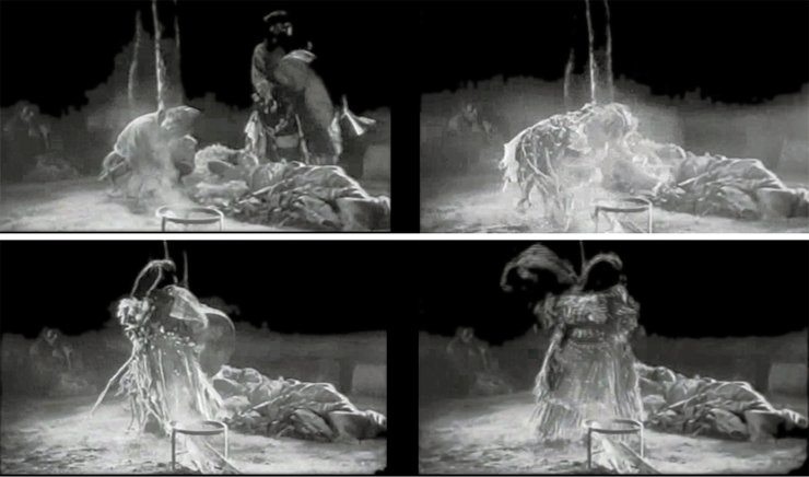Frames from the film Alone: treatment of a sick woman