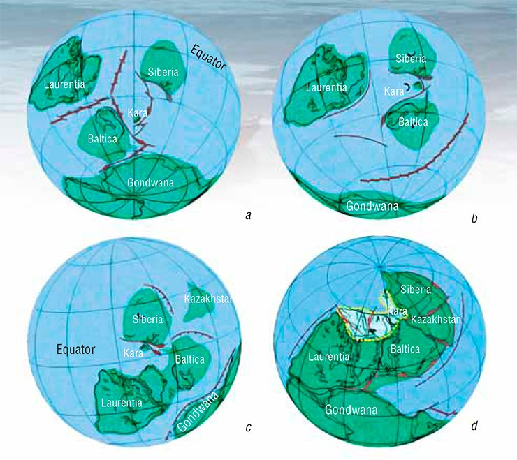 The paleomagnetic data obtained during expeditions on the Severnaya Zemlya archipelago supported the paleogeographic reconstruction of the Kara microcontinent  motion in relation to other paleocontinents in the Paleozoic: (a) Cambrian Ordovician (510–480 Myr ago); (b) Late Ordovician (465–440 Myr ago); (c) Silurian-Devonian (430–400 Myr ago); (d) Permian (280–260 Myr ago)
