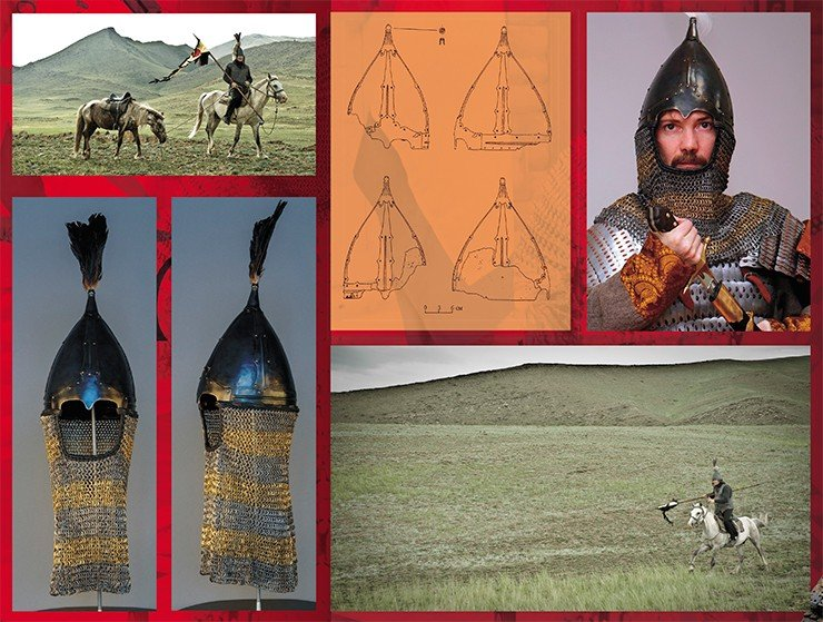 Scholarly historical reconstruction of the helmet of a 9th–11th century Late Turkic (Kimak) warrior, based on an accidental find of a helmet dome at the Multa River (Altai Mountains), finds of parts of bimetallic chainmail aventails in Altai and Khakassia, and frescoes from Afrasiab (Uzbekistan) and Panjakent (Tajikistan). Photo by S. Borisenko (left). Iron helmet found at the Multa River, a tributary of the Upper Katun River (Altai Mountains). Adapted from: (Gorbunov, 2003). Photo by A. Gribakin (top right). Photo by A. Pronin (Top left, bottom right)