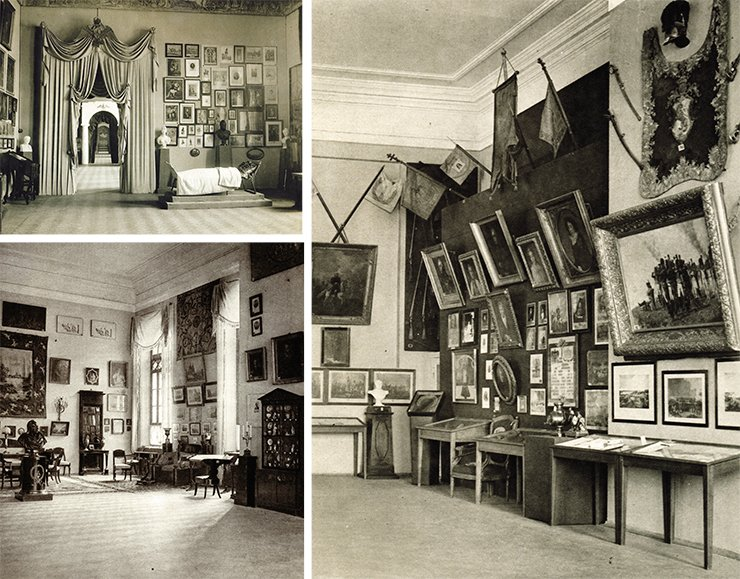 "Hall of the Emperor Alexander I (top). The hall ""Moscow of 1812"" (bottom). The hall ""Borodino"". Kutuzov's corner (right).  The exhibition ""1812"". Moscow, 1912"