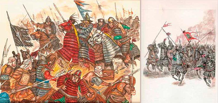 A Turkic heavy cavalry attack. A Xianbei heavy cavalry attack (5th century). Artistic historical reconstruction by L. Bobrov