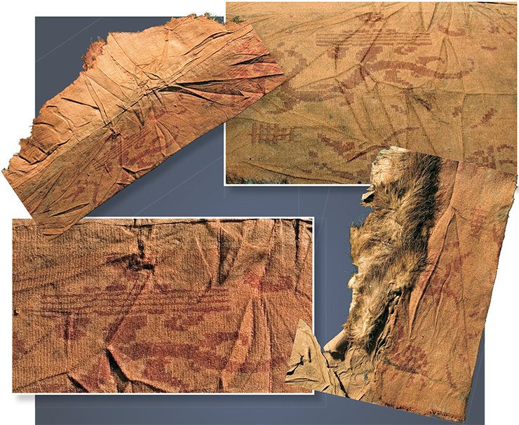Fragments of the outer garment silk trimming depicting a dragon, Fu Xi, turtles, Phoenixes, and an ancient hieroglyph. Noin Ula burial mound 20