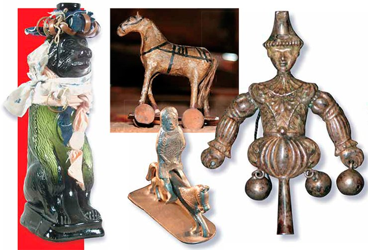 A figure of the supreme deity in the shape of a bear (left). A horse in a home shrine made in the attic. Silver figurine of an equestrian. Harlequin, an Ostyak Idol (right)