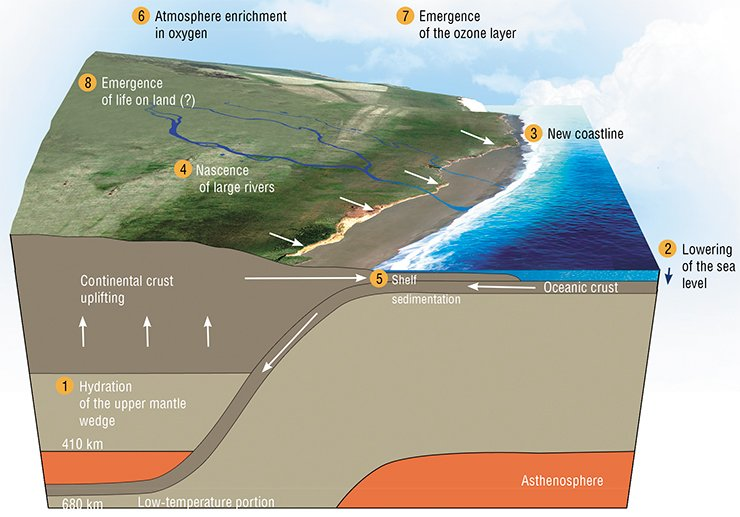 "Subduction, or submersion of solid crust back to the mantle is one of the most important processes hastening the emergence of life on the Earth. During subduction, sedimentary matter and hydrous minerals are brought beneath continents, and continent elevations increase owing to ""swelling"" of the mantle. This process provides conditions for emergence of river networks and topographic features, to create prerequisites for formation of stable ecosystems. According to: (Maruyama, Liou, 2005; Superplumes, 2007)"
