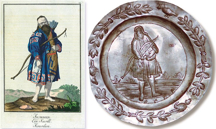 "A saucer depicting a man holding a bow. Presumably: Tobolsk, first quarter of the 19th century. Silver, 916 silver mark; 29.25 g; 11.2 cm in diameter. Silversmith's hallmark: П•Б (cyr.). Peter the Great Museum of Anthropology and Ethnography (St. Petersburg). ""A Kuril Man."" Illustration from J. G. Georgi's book A Description of All the Peoples inhabiting the Russian State, as Well as Their Daily Rituals, Beliefs, Customs, Clothing, Dwellings and Other Memorabilities, St. Petersburg: Imperial Academy of Sciences, 1799"