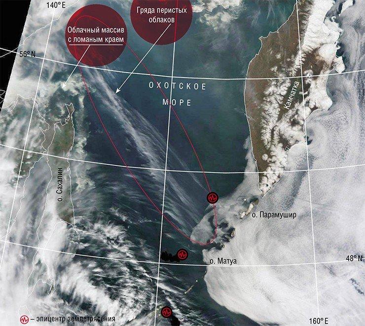 Протяженная гряда перистых облаков верхнего яруса атмосферы (на высоте 12—14 км) возникла над разломом земной коры под Охотским морем. На следующие сутки на Курильских островах произошла серия мощных подземных сейсмических ударов, а через две недели – извержение вулкана на о. Матуа. Ломаный край облачного массива севернее о. Сахалин отражает геодинамическое взаимодействие группы коротких разломов. Фото сделано с ИСЗ Terra (NASA/GSFC, Rapid Response) 31 мая 2009 г.