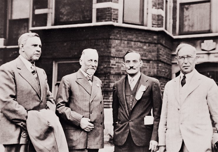 In the photo from left to right: V. N. Ipatieff; R. M. Willstätter, winner of the Nobel Prize in Chemistry; G. Egloff, German organic chemist, director of science at the US oil company Universal Oil Products (UOP); and M. Gomberg, president of the American Chemical Society (1931). It was Gustav Egloff, the famous American chemist nicknamed Gasoline Gus, who offered Ipatieff the post of senior director for research at UOP in Chicago. Today, UOP as a division of Honeywell Corporation is the world's leading supplier and licensor of technologies, catalysts, equipment, and consulting services for the oil refining, petrochemical and gas processing industries. Chicago, United States, 1933. Photo from the archive of Honeywell UOP (USA)