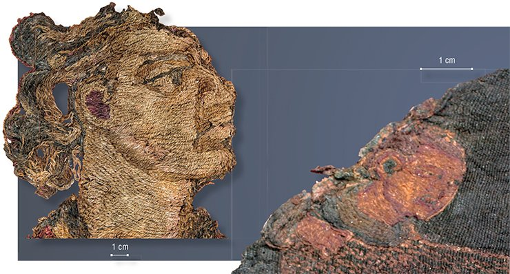 A face of a Zoroastrian warrior (on the left). A fragment of embroidered wool curtain. Noin Ula mound 31. An enlarged doe hunter's face (on the right). A detail of embroidery on silk. Noin Ula mound 20