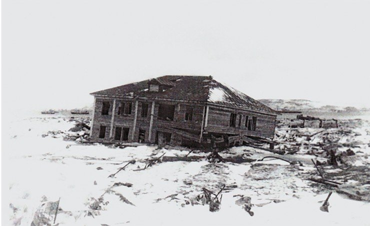 Devastation in Severo-Kurilsk (Paramushir Island) after the tsunami of November 5, 1952