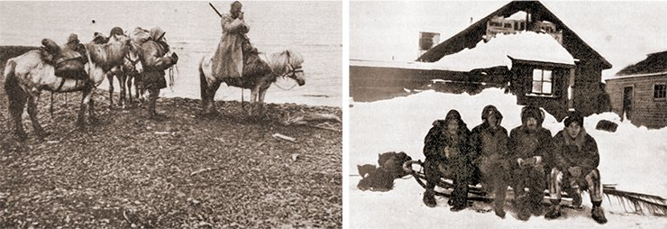 Left: Tolmachoff with interpreters on the Chaun. Photo by Kozhevnikov. (From: Tolmachoff, 1911). On right: I. P. Tolmachoff's Chukotka expedition on Dezhnev Post. Rumiantsev, Tolmachoff, Weber, and Kozhevnikov next to a store of the trading house I. Ya. Churin & Co (1909) Photo: (St Petersburg Branch, Archive of the Russian Academy of Sciences. Collection 1053.  Finding aid 2. # 47. Photo # 136
