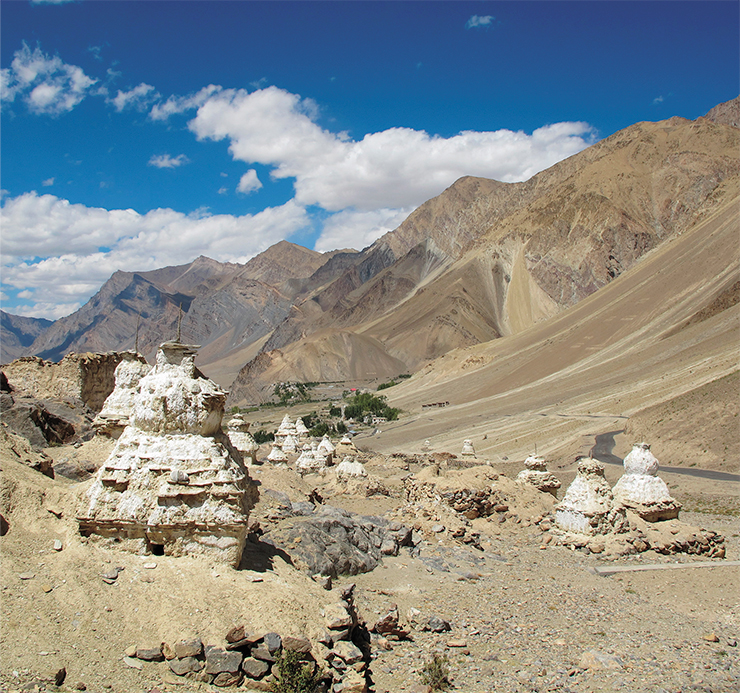 Rows of chortens, on the path to Zangla