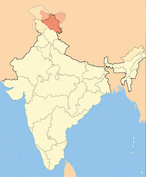 Ladakh, the highest altitude plateau of India, borders on Tibet in the east; Lahul and Spiti (in the state of Himachal Pradesh) in the south; the valleys of Kashmir, Jammu, and Baltistan in the west; and, via the Kunlun ridge, on East Turkestan in the north. Two parallel mountain ridges—Ladakh and Zanskar—run through the territory of Ladakh. Between the Zanskar ridge and the Great Himalayas lies Zanskar, one of the hardest-to-reach and most isolated Himalayan regions of North India
