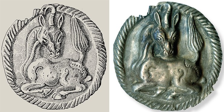 Silver badge (right): with the image of unicorn served as a horse harness decoration. Detailed drawing (left) E. Shumakova(IAET SB RAS, Novosibirsk)