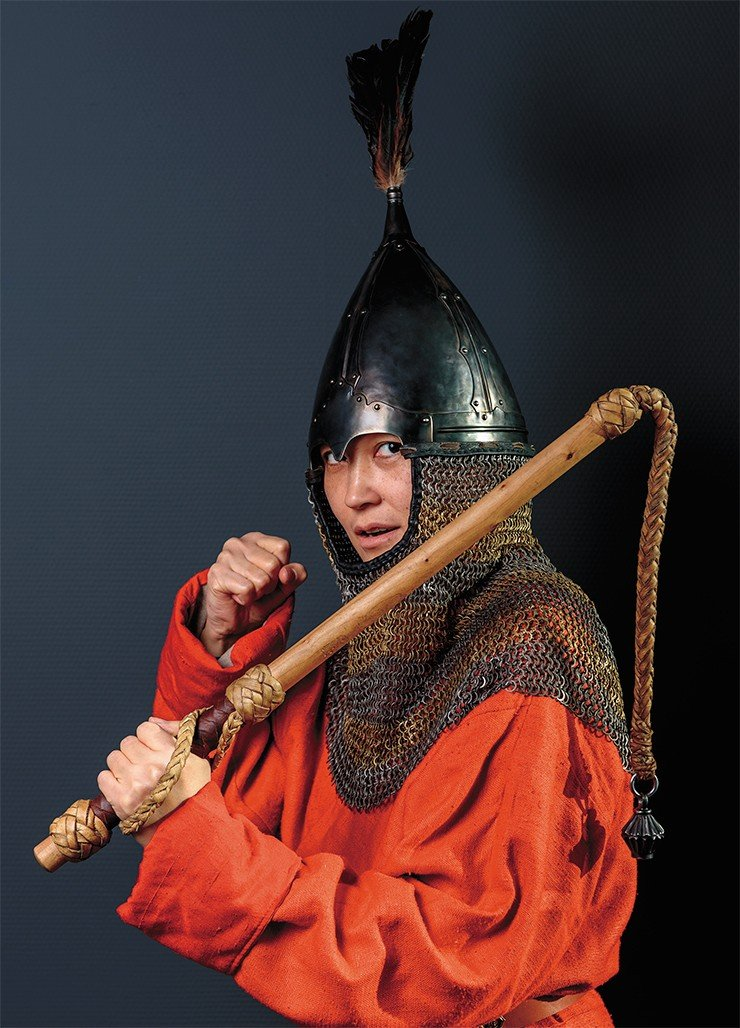 Scholarly historical reconstruction of the helmet of a 9th–11th century Late Turkic (Kimak) warrior, based on an accidental find of a helmet dome at the Multa River (Altai Mountains), finds of parts of bimetallic chainmail aventails in Altai and Khakassia, and frescoes from Afrasiab (Uzbekistan) and Panjakent (Tajikistan). Photo by S. Borisenko