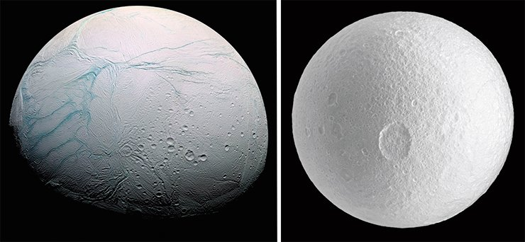 The dark spots of carbonaceous chondrites, which are associated with impact events, have not been found on some celestial bodies of the outer solar system. For example, such spots were not found on Enceladus (left) and on definitely ancient cratered surface of Tethys (right), the largest (their diameters being 1,060 and 505 km, respectively) innermost moons of Saturn.Image from Cassini–Huygens spacecraft, 2009. Credit: NASA/JPL/Space Science Institute