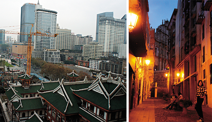 "Modern China is a land of radical and swift changes. The old Hutong streets vanish, giving way to modern blocks. Still, there are places where the legacy of the past is carefully preserved, like Macau, which merits its own story. In the end of this ""colonial"" street, there is a well-preserved facade of a Portuguese catholic church (right)"