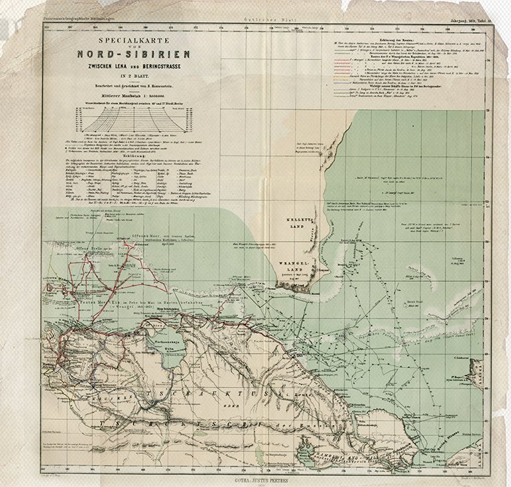 Map of the North of Siberia between the Lena River and the Bering Strait on two sheets / Bearb. und geseichnet B. Hassenstein. 1: 3 000 000. Gotha: J. Perthes, 1879. Östliches Blatt (Tafel 10). Library of the Russian Academy of Sciences, St. Petersburg