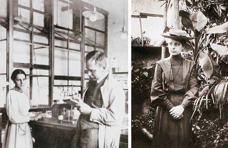 Отто Ган и Лиза Мейтнер влаборатории. 1913 г. Лиза Мейтнер. 1900 г. Public domain