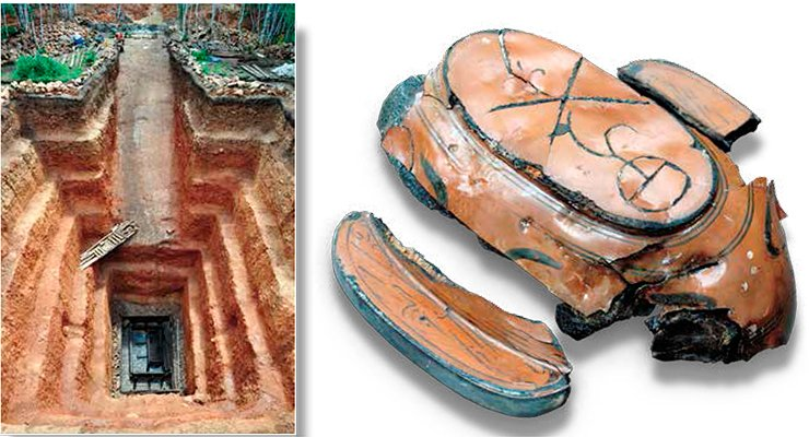 Tumulus 22 at the Xiongnu burial ground, Noin-Ula. Excavations of the Russian-Mongolian expedition. The depth of the burial pit is 16 meters. On the bottom there is a double wooden sepulcher and a coffin. Mongolia, 2012. A lacquer cup, Tumulus 20, Noin-Ula