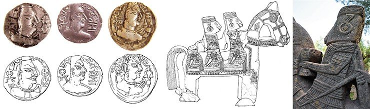 The coins of the Hephthalites (Alchon Huns during the rule of Mekham, 461–493 CE)  and their drawings (left); drawings of stone horsemen (center); a horseman with a cup in his hand,  hurrying up to meet gods (right). The drawings of coins and stone horsemen made by Ye. Shumakova