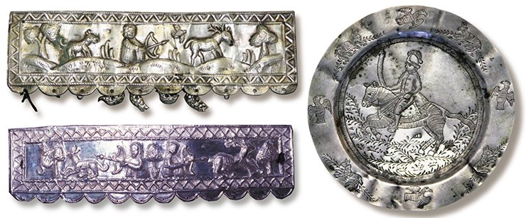 Above: A rectangular plate depicting a hunting scene. Tobolsk, end of the 18th century. Silver, 500 silver mark. 23.0 × 6.5 cm; 29 g. Silversmith's hallmark: П•Б (cyr.). Historical and Architectural Museum-Reserve (Tobolsk). Below: A rectangular plate depicting a hunting scene. Tobolsk, end of the 18th to the first quarter of the 19th century. Silver. 24.0 × 6.2 cm. Silversmith's hallmark: П•Б (cyr.). Museum of Nature and Man (Khanty-Mansiysk). On right: A silver saucer depicting a warrior on horseback. Tobolsk,  first quarter of the 19th century. Silver, 700 silver mark; 44.61 g; 11.8 cm in diameter. Silversmith's hallmark: П•Б (cyr.). Historical and Architectural Museum-Reserve (Tobolsk)