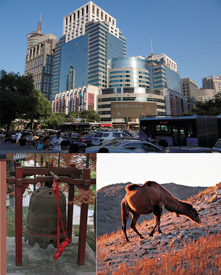 The modern days and the revived past: Chaoyang district of Beijing, with its immense business towers and streams of automobile and pedestrian traffic (top), and Xinjiang, an autonomous district in the Chinese northwest, following its own flow of time and historical path. Camels graze on rough grass on what used to be the Silk Road – the faithful carriers of the ancient caravans
