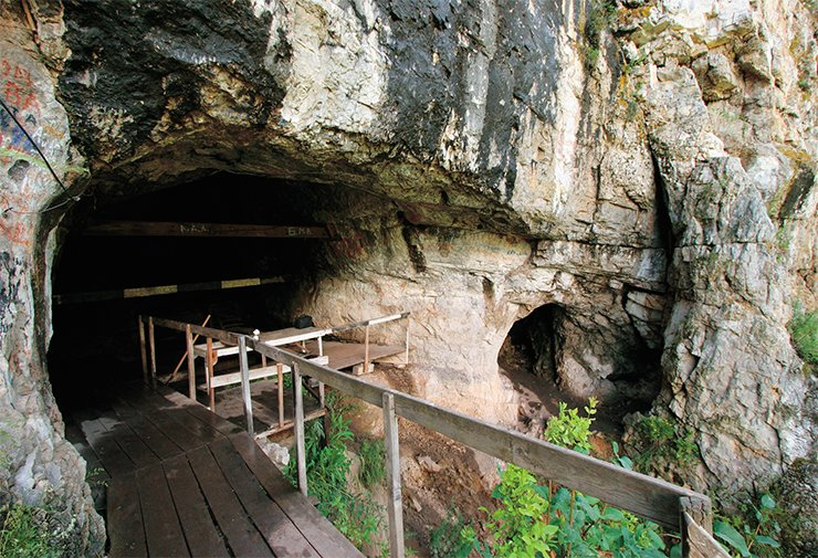 The Denisova Cave is the most ancient inhabited cave in North Asia. Today, the entrance is 6 meters high but not so long ago its height was one-third of what we have now, and the trail approached the very foot of the ridge (below). The cracked ledge hanging over the entrance was destroyed for safety reasons by point explosions; in the area in front of the entrance, digs were carried out, and the entrance to the cave was equipped with a timber flooring (above). Photographs by S. I. Zelensky and from the archive of the IAET SB RAS (1983)