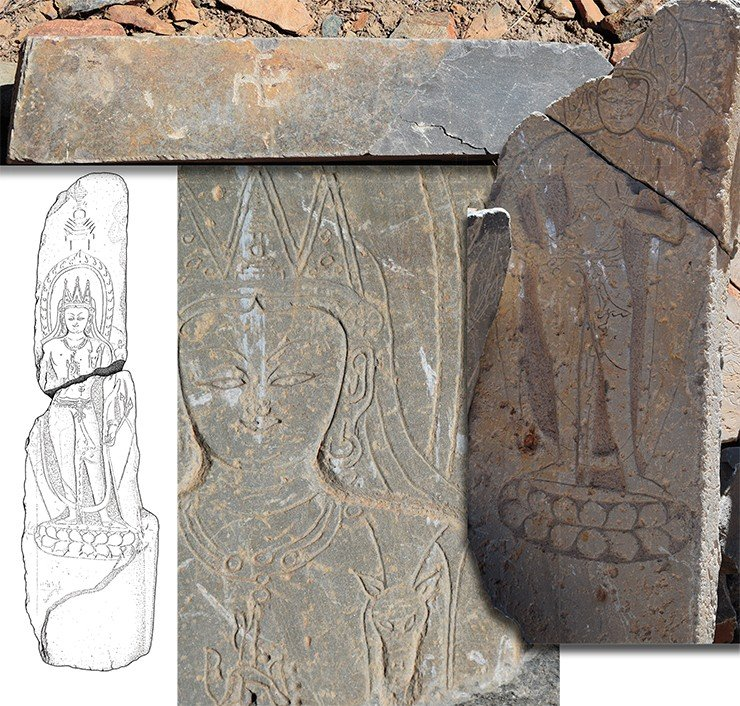Above: an image of the Bon swastika on a plate from the sanctuary. A fragment of the image of Bodhisattva in a tricorn crown. A drawing of the Bodhisattva image. Drawing by A. Saliev. Right: a fragment of a stele with an image of Bodhisattva. The village of Manda. Zanskar