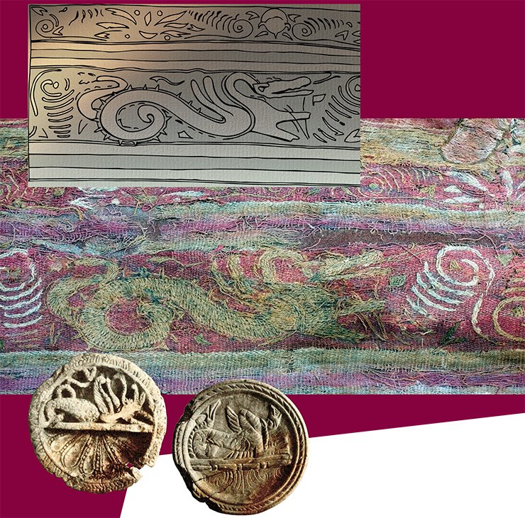 The valance bordering the carpet has three ornamented stripes. Embroidered on the central stripe are depictions of winged hippocamps walking towards each other; placed between them are grape garlands twisted in a spiral of grape tentacles and pomegranates. The image of a beast is new for the Noin-Ula textile. The beast has a serpentine curved neck, the head with open jaws looking like crocodile's; the serpentine body is contoured with a sharp dented crest, and the tail curled into a ring ends with a fish-fin. Depictions of winged hippocamps – in contrast to the wingless ones, which are a Greek invention – are quite rare. Analogues close to them in time can be found on the stone plaques from Taxila (left; Marshall, 1951) – a specific form of East-Hellenistic art, on the lid of a silver vessel from Kosika and the frieze of a silver vessel from a private collection (Treister, 2005) – Parthian, in our view. The further historical destiny of these fantastic creatures can be traced with the help of a temple fresco in Panjakent, namely, the scene depicting a ritual feast of Sogdian noblemen, accompanied with sacrificial offering. Hovering between the heads of the seated people are creatures with the head and forelegs of a horse, bird's wings and serpentine tail, bearing a strong resemblance to the hippocamps of the 1st c. AD (Diakonov, 1954). It should be noted that in these scenes they clearly symbolize the good, maybe personifying the farn (luck, victory, and happiness). Bottom right: Archaic ornaments. Palmyra. From: (Schlumberger, 1970)