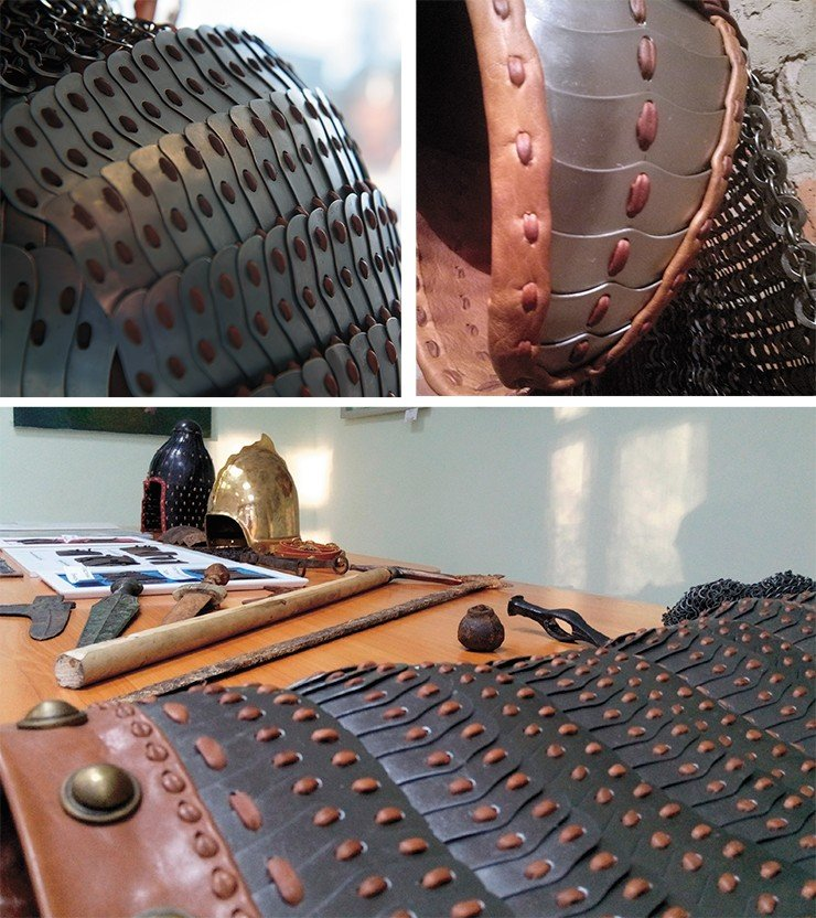 Typical iron plates of the Avar lamellar cuirass, which served as a prototype for the armor reconstruction. An accidental find in the Samara region (Russia). NSU Museum. Photo by the author