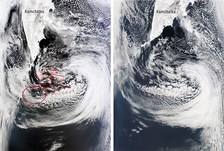 "The ""mesh"" clouds formed near the northern part of the Kuril Ridge after the earthquake in Japan testified that seismic activity in the region persisted (left). Indeed, though an hour and half later cloud stripes of latitudinal orientation replaced the mesh (right), earth shocks continued during the next three days. The photos taken from satellites Terra and Aqua (NASA/GSFC, Rapid Response), on March 11, 2011"