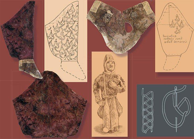 Ноговицы вместе с пришитыми к ним сапожками были обнаружены в погребении в виде разрозненных фрагментов. Но после работы реставраторов мы можем представить, как выглядело изделие в своем первоначальном виде. Ноговица и мягкий сапожок в развернутом виде. Схема кроя мягкого сапожка. Вышивка на шерстяной ткани ноговиц и сапожка выполнена одной из разновидностей тамбурного шва (в современной литературе известного как перистый шов), характерного для ханьской вышивки по шелку. Прорисовка и схема Е. Шумаковой