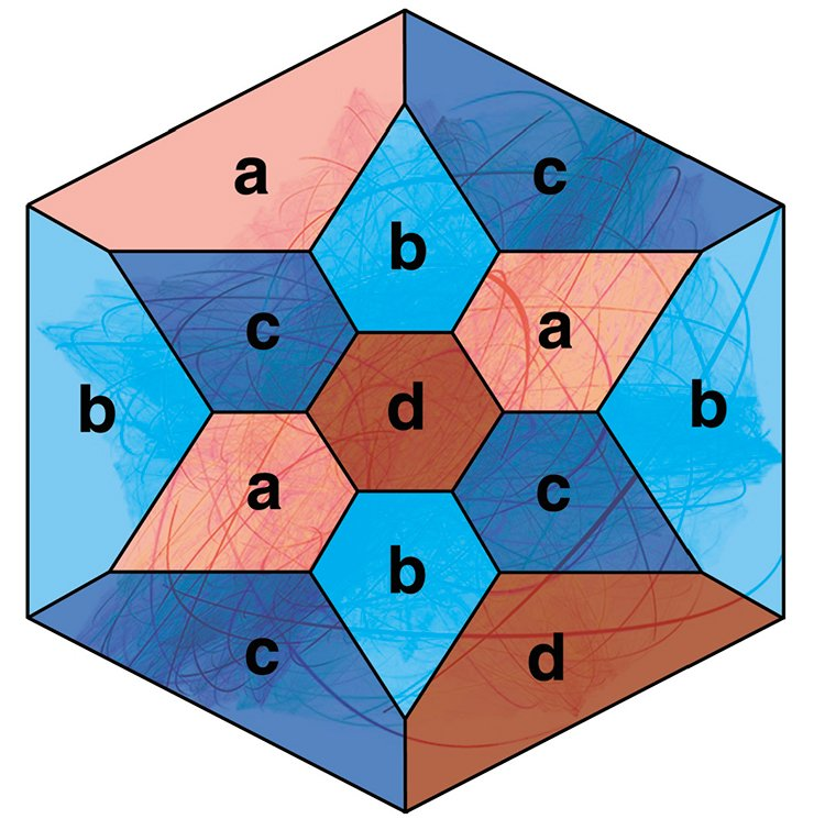 To construct the hexagonal Loebell prism as a starting form, let us take the rectangular polyhedron P with all the dihedral (and plane) angles equal to 90°. We will paint its faces with four colors: a = red, b = sky blue, c = dark blue and d = vinous, so that the adjoining faces are painted with different colors. One of the variants of coloring is shown in the figure. To construct the required manifold, eight equal copies of the polyhedron P are needed. Let us identify the faces of the eight polyhedrons n the following way: a ≡ (15)(26)(37)(48); b ≡ (16)(25)(38)(47); c ≡ (17)(28)(35)(46); d ≡ (18)(27)(36)(45). The symbolic notation a ≡ (15)...(ij)...(48) means the following. Each face painted red (a) in the first copy of P is identified with the same corresponding face in the fifth copy of P. In a similar manner, the red face in the i-th copy of P is identified with the corresponding red face in the j-th copy. The identification of faces painted with other colors is done in the same way