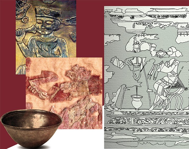 The man sitting in the center is lifting a bowl with a drink to his mouth. A carpet fragment shows the edge of trimmed fair hair around a solid neck, a soft shaved chin, and elongated plump lips. Clay, glass, and metal bowls, hemispherical and cone-shaped, were widely used from Italy to India beginning with approximately 2nd c. BC. Two such bowls, made of silver, were discovered among the rich inventory of the Artiukhov kurgan (Maksimova, 1979). Depictions of hemispherical drinking bowls are characteristic for the Sassanid and post-Sassanid periods: a similar bowl is being held by a king in the scene of the feast, depicted on a dish from the Hermitage collection (above; Trever, Lukonin, 1979)