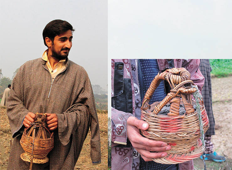 At the end of October and beginning of November, weather becomes cold in the Kashmir Valley. However, all the local people wear very light clothes: their outerwear is made of thick wool fabric, but that's all. We were surprised at their method to keep warm in winter. They use a little basket with a handle where they put a clay pot with hot coals. Both men and women carry such a basket under their outerwear, pulling their arms out of their sleeves. The clothes themselves are loose enough to fit in, somewhere near one's belly, a basket with a warm pot, which one can hold with two hands