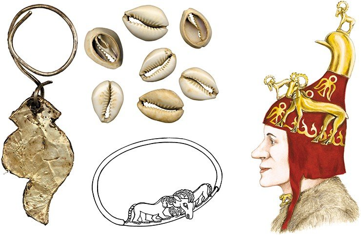 An earring from the female burial: a wooden plate pasted with gold foil (left). Cowrie shells—a symbol of female fertility (above). A necklace from the burial (bottom). Right: a drawing by Cand.Sci.(History) D.V. Pozdnyakov (IAE SB RAS) based on the reconstruction of the felt helmet by E.V. Shumakova (IAE SB RAS). Ak-Alakha 1 burial mound 1