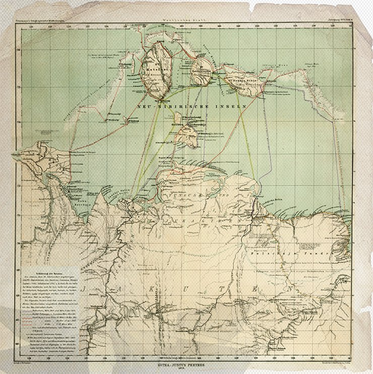 Map of the North of Siberia between the Lena River and the Bering Strait on two sheets / Bearb. und geseichnet B. Hassenstein. – 1: 3 000 000. – Gotha: J. Perthes, 1879. – Östliches Blatt (Tafel 10). Library of the Russian Academy of Sciences, St. Petersburg