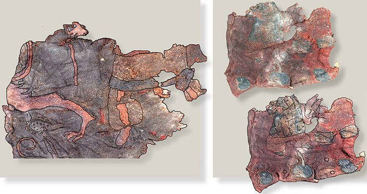 Fragments of silk (above) and woolen (to the right) fabric with embroidery and its drawing on fabric. Noin Ula burial mound 20. Drawn by E. Shumakova
