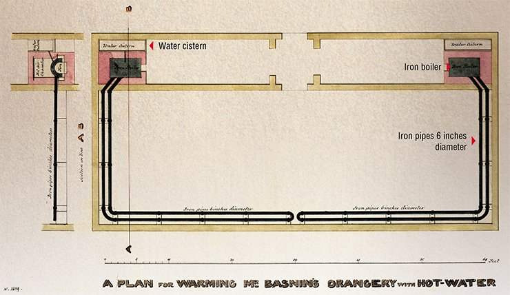 "The English architect and artist T. W. Atkinson, who traveled across Siberia for seven years, made friends with the Basnins' family. He designed a project of a heated hothouse for Vasily Nikolayevich: ""A plan for warming Mr Basnin's orangery with hot water."" No mention of putting this system of iron tubes and boiler ovens into practice has been found, however. RGADA (The Russian State Archive of Ancient Acts)"